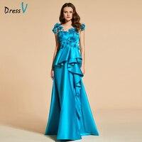 Dressv湖グリーンロングイブニングドレスaラインエレガントbeadingsleevelessウェディングパーティーフォーマルドレスボタンfllowsイブニングドレス