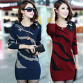 Women Dress 2016 Autumn Winter Midi Long Sleeve Knitted Dresses Women Clothing Sexy Wool Bodycon Sweater Dresses
