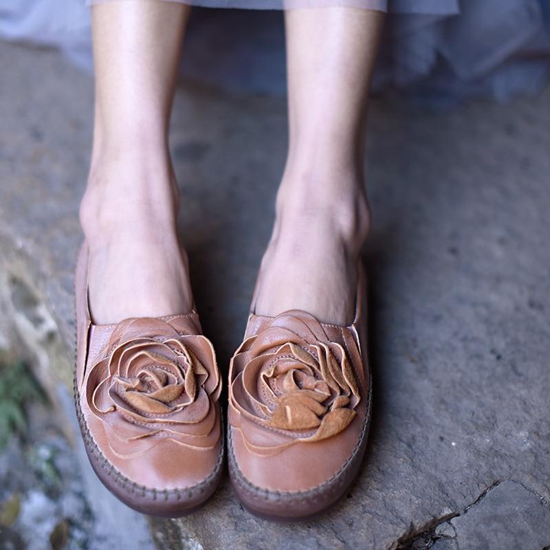 2 La pink Loisirs Green Fleurs Confortable Véritable En Artmu 301 Chaussures Vintage Main Cuir Original Plat Apricot À aqznZ16z