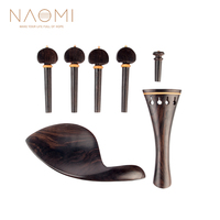 NAOMI Hill Style Ebony Violin Parts 4/4 Tailpiece +Turning Pegs+Endpin+Chinrest Ebony Wood Violin Fiddle Violin Parts Full Set