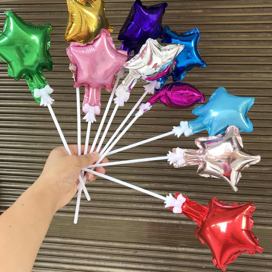 В виде звезды и сердца 5 дюймов Фольга воздушные шары торт фигурки жениха и невесты; смешанные Цвет счастливый украшение для торта ко дню рождения моноблок вечерние аксессуары