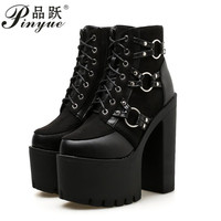 Women Gothic Boots Lace Up Ankle Boots Patchwork Platform Punk Shoes Ultra Very High Heel Bootie Block Chunky Heel