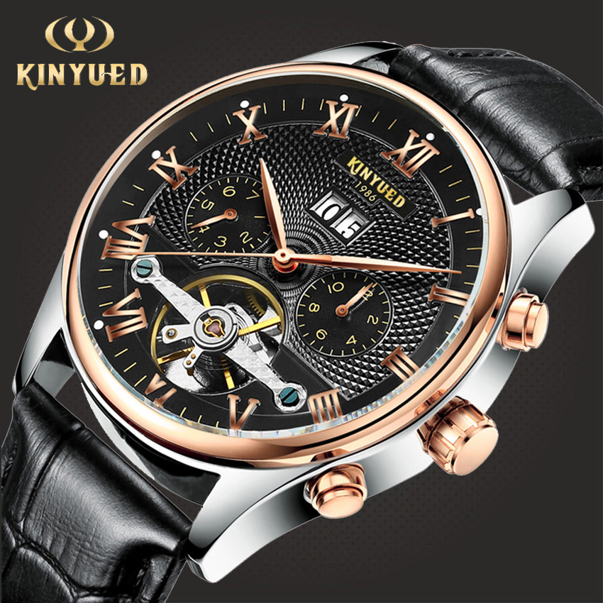 Skeleton Tourbillon Mechanical Watch Men Automatic Classic Rose Gold Leather Wrist Watches Reloj Hombre 2019