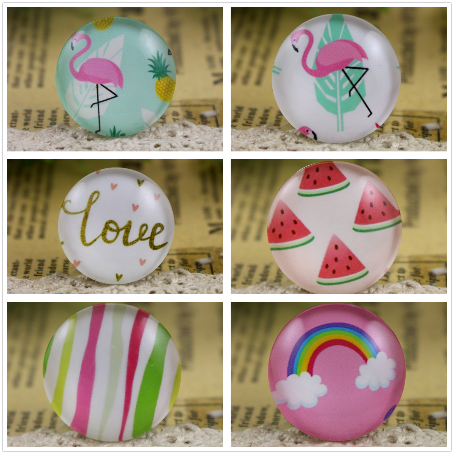 New Fashion 5pcs/Lot 25mm Rainbow Swan Handmade Photo Glass Cabochons Pattern Domed Jewelry Accessories Supplies