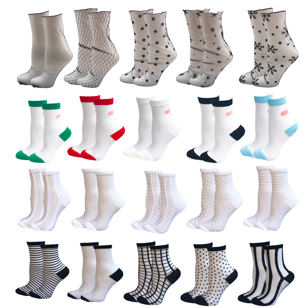 VPM Newly 20 Color Summer Women Lace Socks Crystal Silk Ankle Sock Glass Black White Sexy Star Dots Transparent Socks For Ladies