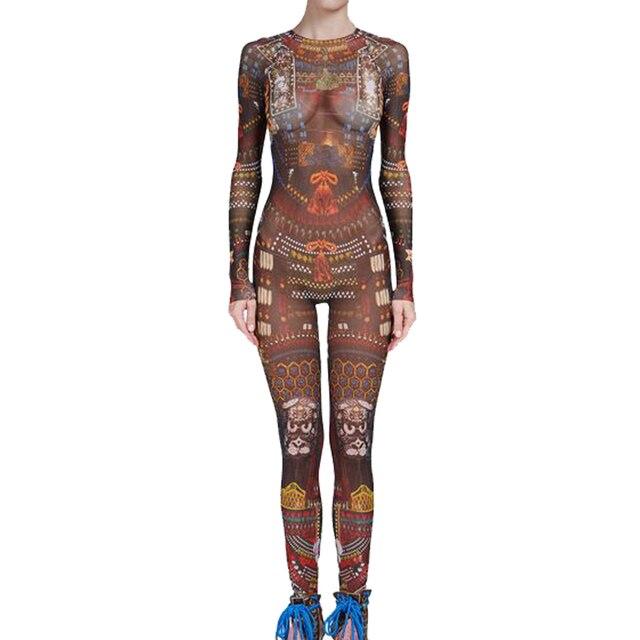 Summer Women Baroque Couture Tribal Tattoo Print Mesh Jumpsuit Curvy  African Runway Sheer Bodysuit Celebrity Jumpsuit 478fa6d53752