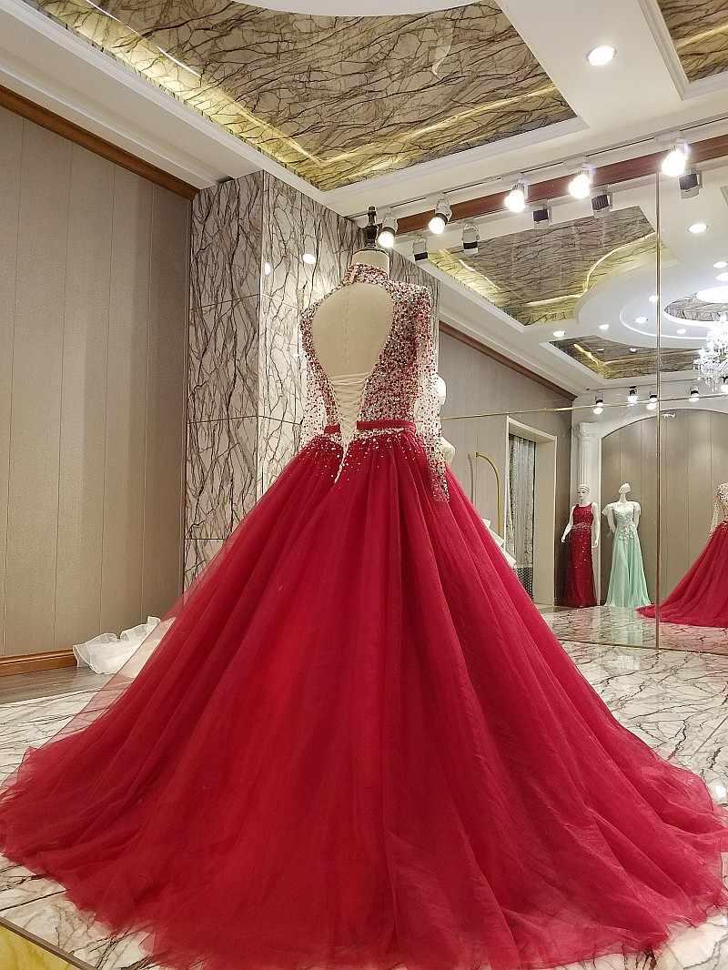 LS9 evening gown corset back beaded A line long evening dress