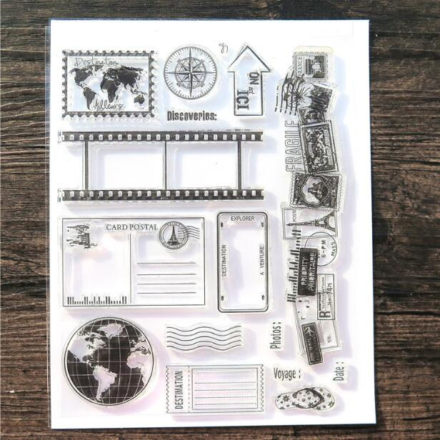 Scrapbook DIY Photo Album Card Rubber Chapter Transparent Seal Travel & film Clear Stamp 37 scrapbook diy photo album card hand account rubber seal product seal transparent seal stamp cat