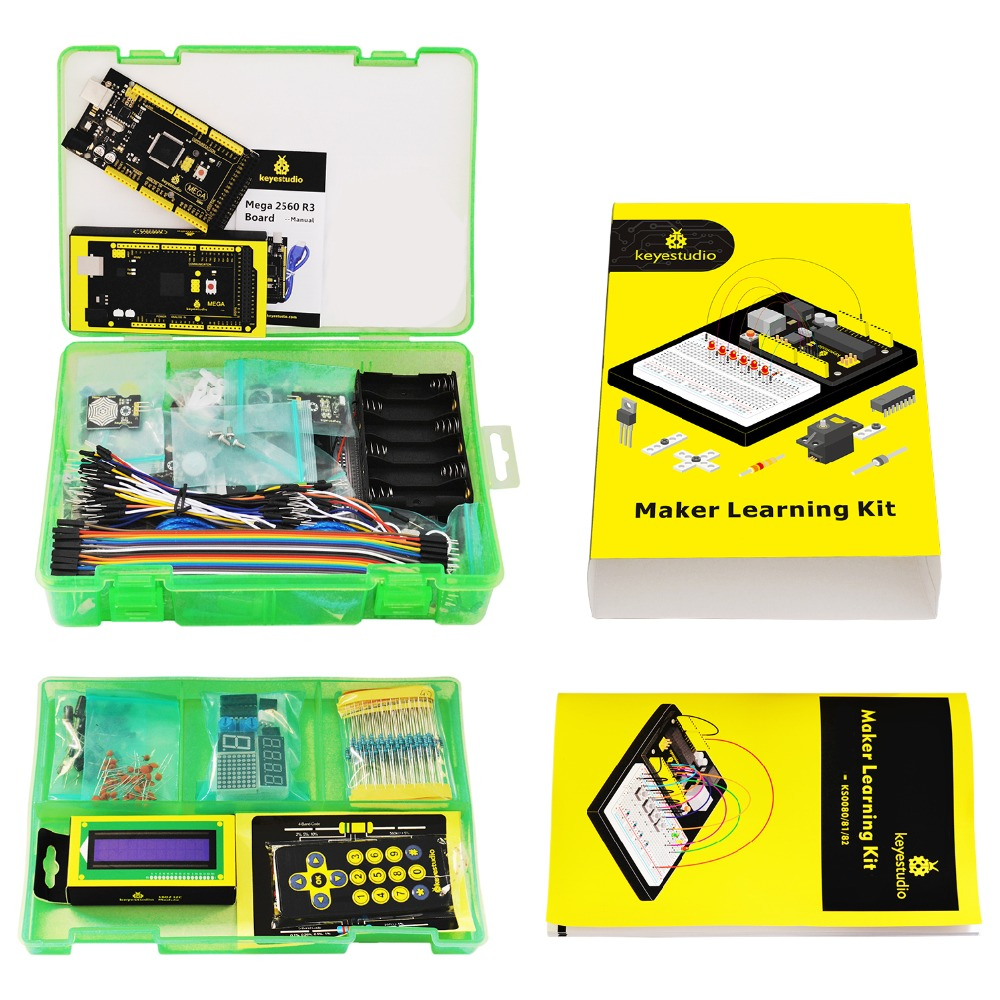 Image 5 - Keyestudio Maker Starter Kit(MEGA 2560 R3)For Arduino Project W/Gift Box+User Manual+1602LCD+Chassis+PDF(online)+35Project+Video-in Integrated Circuits from Electronic Components & Supplies