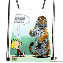 Custom calvin-and-hobbes-12 @01-Drawstring Backpack Bag Cute Daypack Kids Satchel (Black Back) 31x40cm#180611-03-120