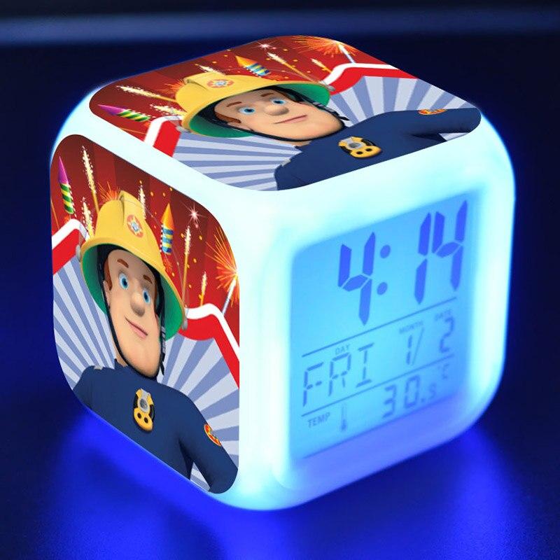 Feuer mann Sam Anime Figur Juguetes LED Wecker Bunte Touch Licht Fireman Sam Abbildung Spielzeug für Kinder