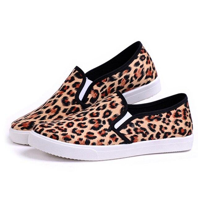 Женская Мода Печати Леопарда Холст Обувь Лето Дышащая Скольжения на Мокасины Квартиры Комфорт Случайные Досуг Обувь для Дам