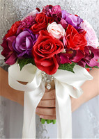 Artificial flowers red bouquet groom bride holding flower wedding shooting props bridesmaid decoration accessories