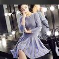 Plaid jacquard knit dress 2016 autumn / winter dress women high quality collar high-end custom knit dress bottoming a line dress