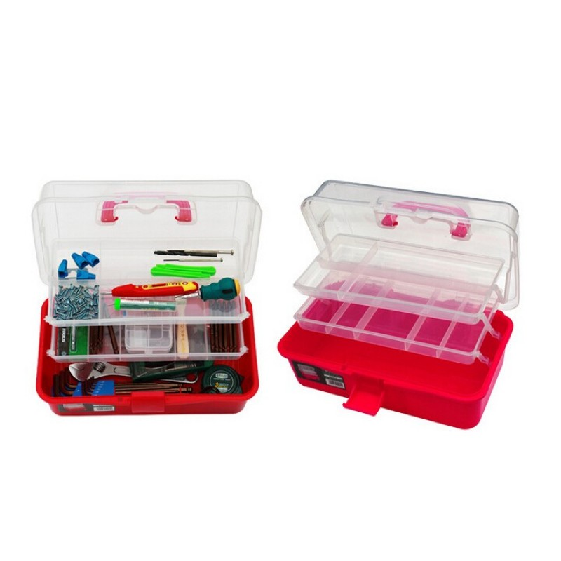 13 inch transparent three-layer toolbox <font><b>art</b></font> <font><b>art</b></font> toolbox transparent plastic storage portable portable <font><b>tool</b></font> <font><b>box</b></font> image