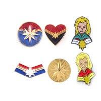 Wholesale 18pcs Avengers 4 Endgame Captain Marvel Pins Brooches Carol Danvers Shield Badge Brooch for Women Men Lapel Pin Gift
