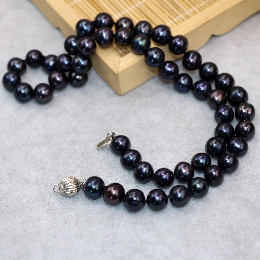 04b3cb1593b8 venta caliente natural cultivadas de agua dulce negro perla aprox ronda  9-10mm collar de perlas regalos de bodas joyería de las mujeres B18inch  B3021