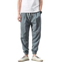 YJSFG HOUSE Baggy Pants Mens Pencil Cotton Linen Harem Hippie Boho Trousers Drawstring Summer Male Home Casual Plus Pant