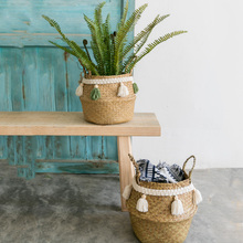 Макраме Украшения плетеная корзина садовый цветочный горшок кабинет плетеная корзина для хранения Главная Организатор Корзина