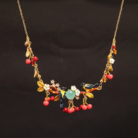 France Les Nereides Enamel Glaze Copple Pleated Fashion Cherry Flower Oriole Bird Gem Women Necklace