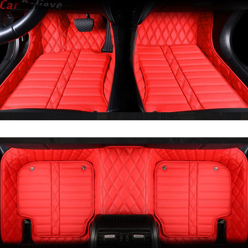 Car Believe Genuine Leather car floor mat For pajero sport 4 grandis lancer outlander xl 3 2017 2013 accessories carpet rugs