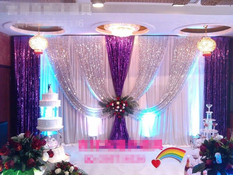 Роскошный свадебный фон 3x6 м (10ftx20ft), серебристые и фиолетовые блестки, для вечеринки, занавески, для сценического свадебного украшения, Бесп