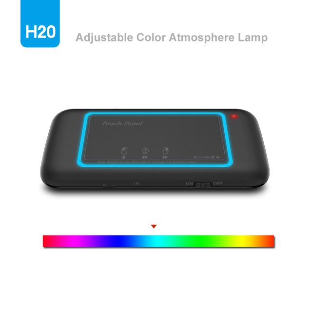 English Air Mouse Wechip backlit H20 Mini Wireless Keyboard 2.4ghz  Touchpad Remote Control Android TV Box