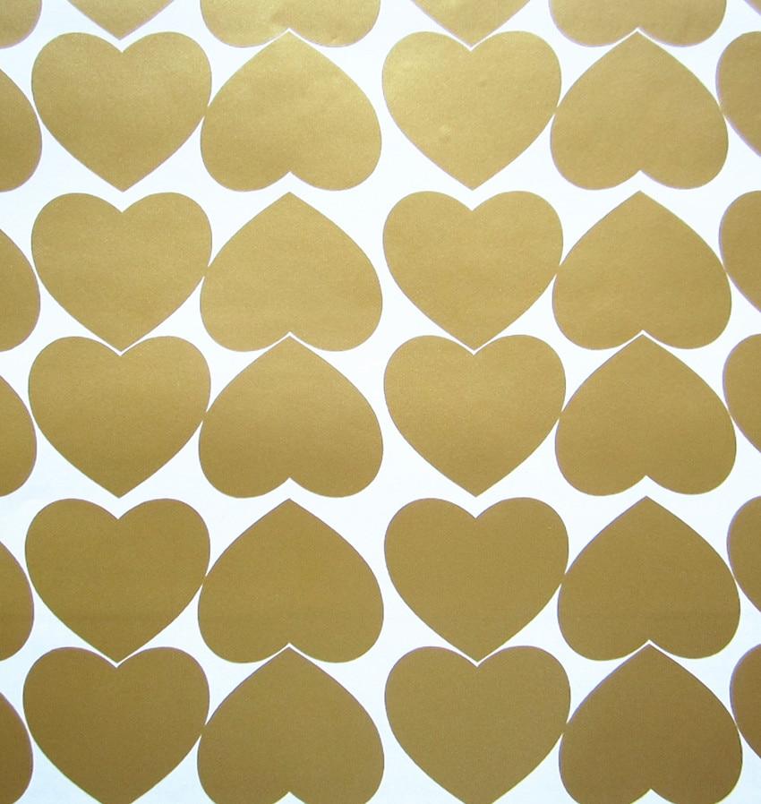 Sæt med 60 metallisk guld hjerteformet væg klistermærke mærkater DIY kunst til børnehave børn piger Room Decor