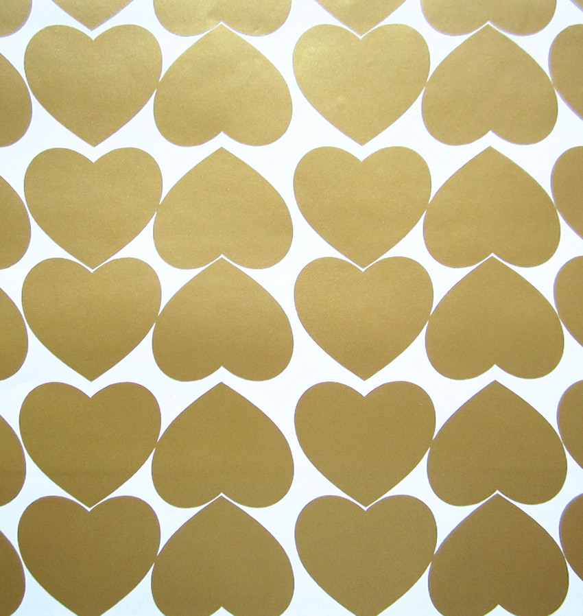 Set of 60 Metallic Gold Heart Shaped Wall sticker decal DIY art for Baby nursery kids girls Room Decor