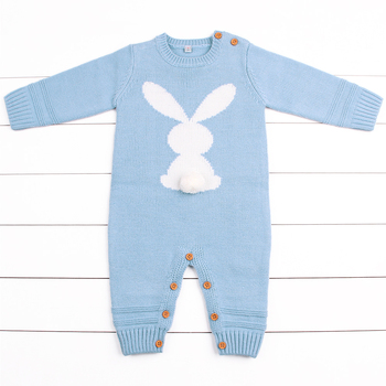 Rabbit Knitted Bunny Rompers for Newborns Jumpsuits Infant Bebes Boy Girl Long Sleeve Overalls Toddler Children's Easter Outfits