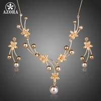 AZORA 18K Gold Plated Swiss CZ With Beads Flower Pendant Necklace And Drop Earrings Jewelry Sets