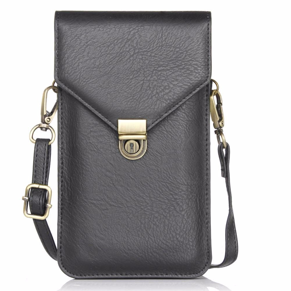 Multifunctional <font><b>Universal</b></font> Leather Mini Mobile <font><b>Phone</b></font> <font><b>Bag</b></font> Pouch with Shoulder Strap for and Metal Button for iphone7 7plus and Oth