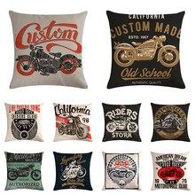 Póster de motocicleta, impresión artística de letras, funda de cojín para montar en tu camino, decoración del hogar, funda de almohada Vintage para moto, funda de cojín de sofá ZY911
