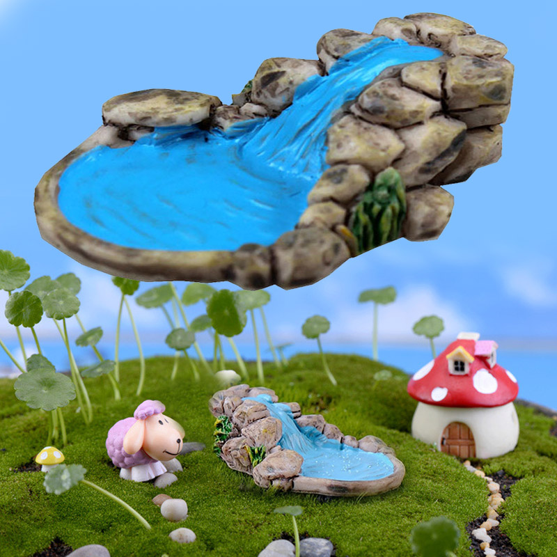 Retro Resin Garden Miniature For Courtyard Bonsai For Crafts Micro Landscape Mini Toys Figurines DIY For Pond Tower