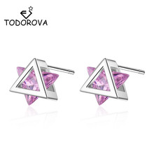 Todorova Small Pink White Cubic Zircon Geometric Triangle Stud Earrings for Women Girls Kids Minimalist Jewelry Pendientes