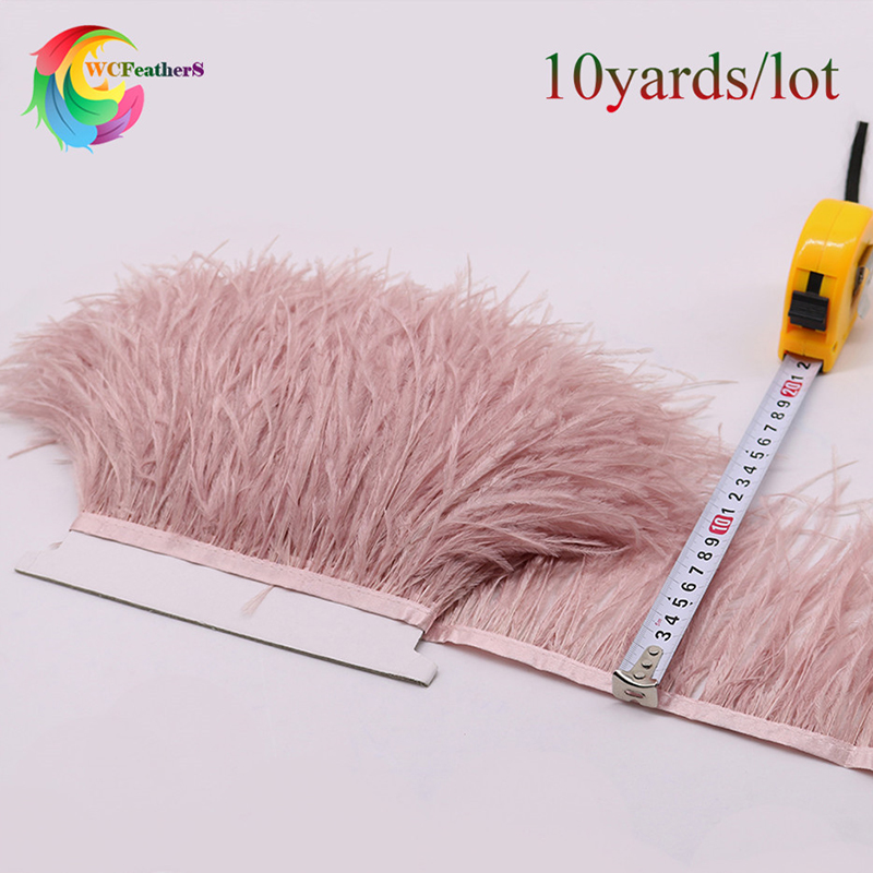 High Quality 10yards Dyed Leather Pink Ostrich Feather Trims Width 6-8 inches fjær Ribbon for skjørt / Dress / Costume Decoration