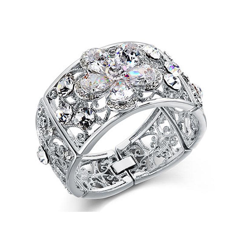 Bridesmaid Bridal Wedding Pageant Luxury Flower Vintage Style Crystal Bangle CB0080