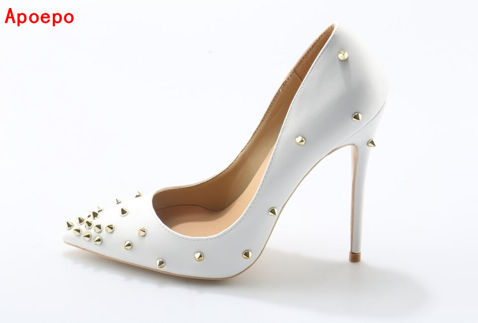 2079229a47cb Big Sale White Gold Spikes Studded Women Pumps Rivets Pointed Toe ...