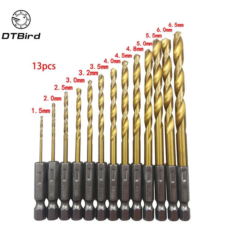 13pcs HSS Drill Bit For Metal Titanium Coated Twist Drill Set 1.5 ~ 6.5mm With 1/4