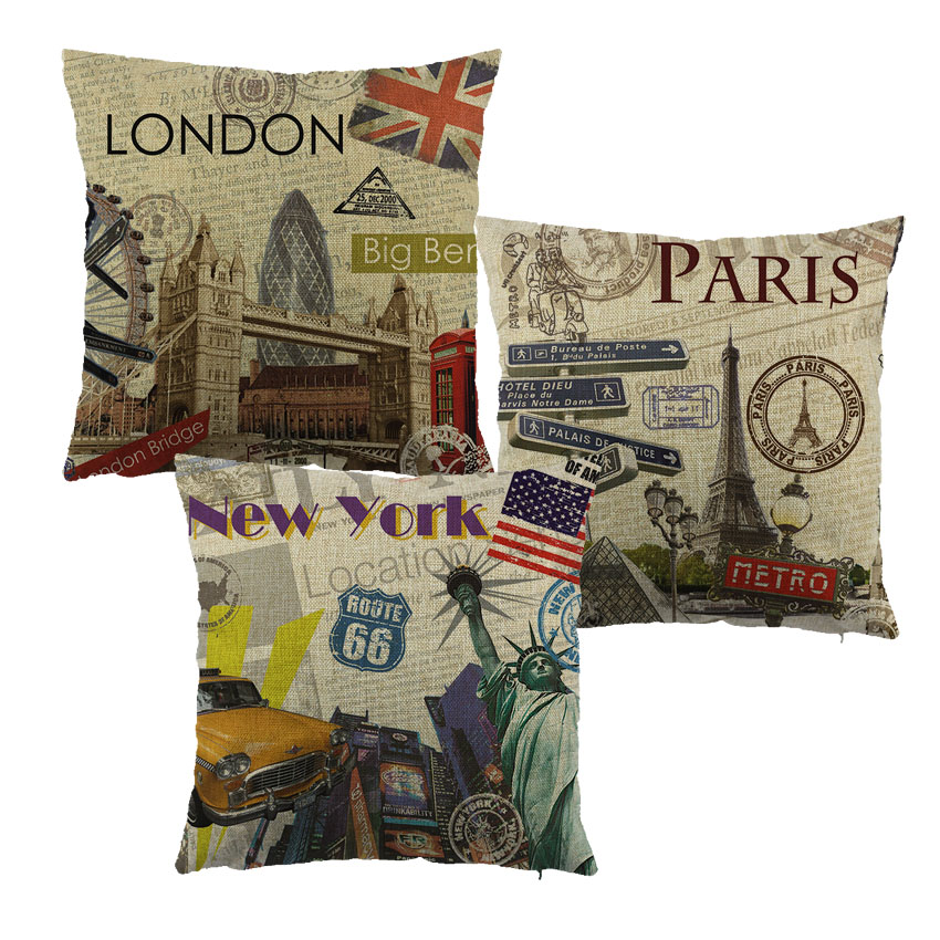 Stadt stil London/Paris/NEW YOUK Der kissenbezug dekokissen fall für home sofa