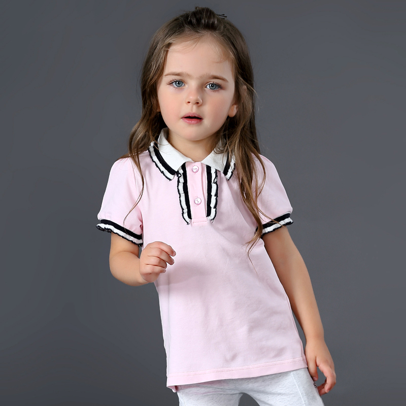 2017 Brand Baby Girls Clothes Short Sleeve Kids Girl Cotoon Girls Polo Shirt Fashion Girls Tee White Tops 2 3 4 5 6 Years