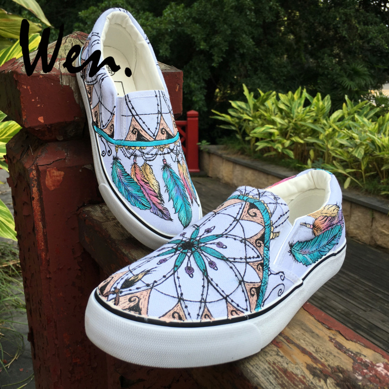 Watercolor Feather Plumes Slip On Canvas Upper Sneakers Painted Canvas Shoes Casual Shoe for Women Comfortable