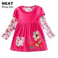 2 6Y Retail Kids Dresses Cartoon Baby Girls Princess Lace Tutu Dresses 2017 Cotton Long Sleeve