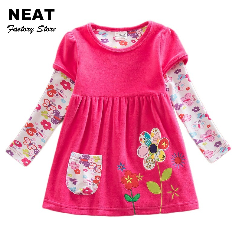 4-8Y Retail Kids Dresses Cartoon Baby Girls Princess Lace Tutu Dresses 2017 Cotton Long Sleeve Children Clothing Wear LD6660 Mix girls europe and the united states children s wear red princess long sleeve princess dress child kids clothing red bow lace