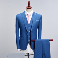 blue Men suit three piece set Slim design Men Suit Jacket + Pants + Vest Pure Color mens suits Blazer Asia size S 4XL