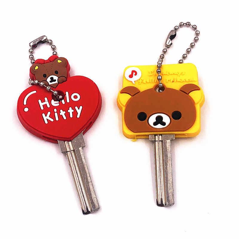 2 Pcs Bonito Dos Desenhos Animados Olá Kitty Urso Totoro Keychain Chave Tampa Do teclado de Silicone Mulher Caps Chaveiro Chave Anel Chave titular Caçoa o Presente