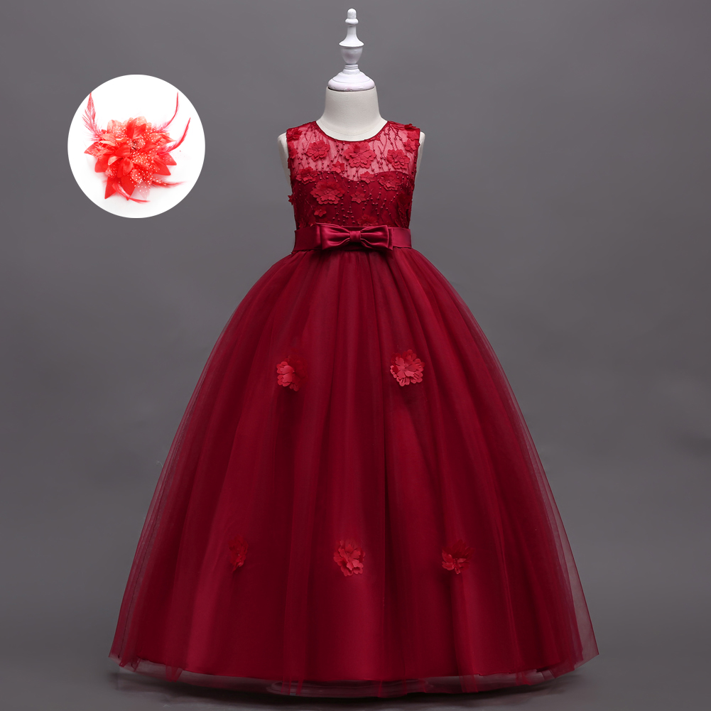 Children's Formal Ball Gowns Girls Flower Applique Red Burgundy Mint Green Blue Kids Long Party Dress for Wedding Online mint green casual sleeveless hooded top