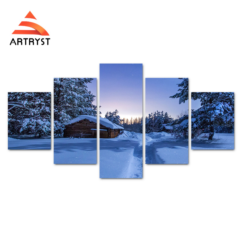 5 paneļu moduļa sienas mākslas darbs Ziemas nakts sniega mājas - Mājas dekors - Foto 2