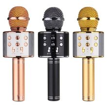 WS-858 Wireless Bluetooth Karaoke Handheld Microphone USB KTV Player Bluetooth Mic Speaker Record Music Microphones(China)