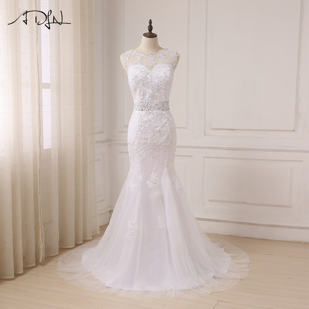 ADLN Cheap Scoop Wedding Dress Cap Sleeve Sequin Applique Mermaid Wedding Gowns Sweep Train Zipper Back with Buttons